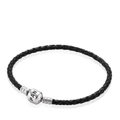 Кожаный браслет черного цвета с застежкой из серебра
