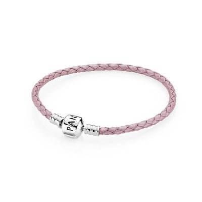 Кожаный браслет розового цвета с застежкой из серебра