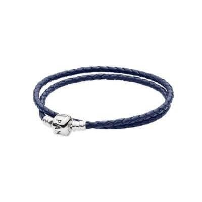 Кожаный двойной браслет темно-синего цвета с застежкой из серебра