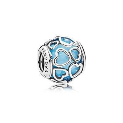 Шарм «Ажурные сердца з голубым камнем»