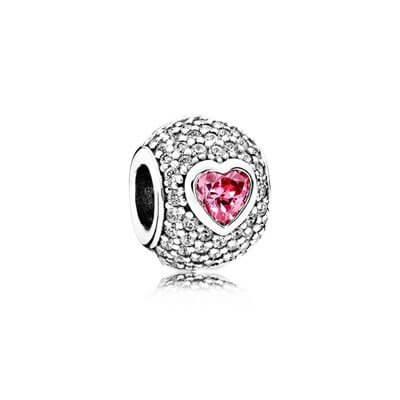 Бусина «Pave с розовым сердцем»