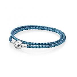 Кожаный двойной браслет темно-синего и синего цвета с застежкой из серебра