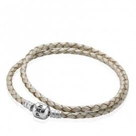 Кожаный двойной браслет цвета шампань с застежкой из серебра