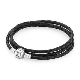 Кожаный тройной браслет черного цвета с застежкой из серебра