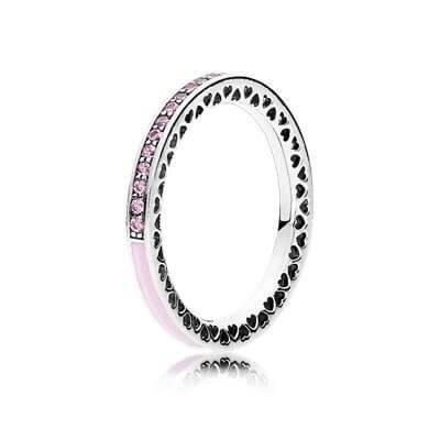 """Кольцо """"Розовые сияющие сердца от PANDORA"""""""